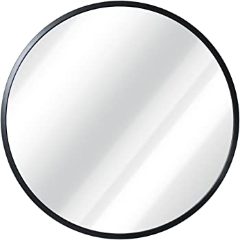 """HBCY Creations Circle Wall Mirror Inch Round Wall Mirror for Entryways, Washrooms, Living Rooms and More (Black, 20"""")"""