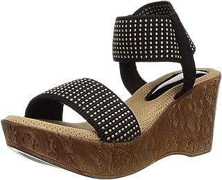 Catwalk Women's Open Toe Ankle Strap Black Wedges Outdoor Sandals