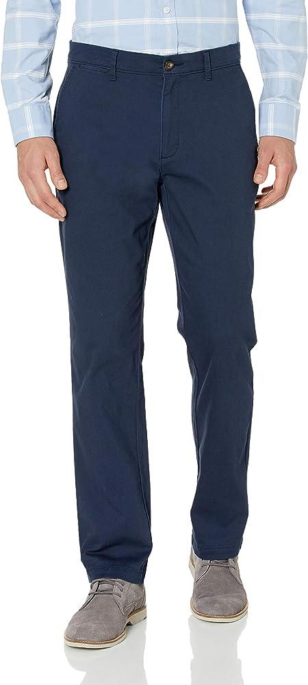 Amazon essentials, pantaloni per uomo elasticizzati, 97% cotone, 3% elastan, blu marino MAE60011FL18F