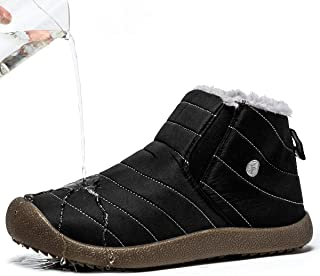 BINSHUN Winter Shoes Snow Boots for Men Waterproof Casual Slip on Cloth Sneakers Anti-Slip Lightweight Ankle Booties Full Fur