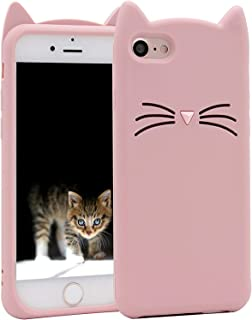 iPhone 8 Plus Silicone Case, iPhone 7 Plus Silicone Case Cute Cartoon Mustache Cat Gel Rubber Full Body Protection Shockproof Cover Case Drop Protection for Apple iPhone 7 Plus/iPhone 8 Plus(5.5