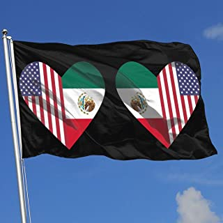 YTGQ4PT Half Flag of Mexico Half USA Flag Love Heart Super Polyester Flag 3x5 F Banner with Grommets