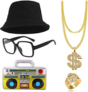 VSTON Hip Hop Cosplay Costume Kit Men's 80's Rapper for Accessories Bucket Hat Gold Dollar Sign Chain Ring Necklace Oversized Glasses