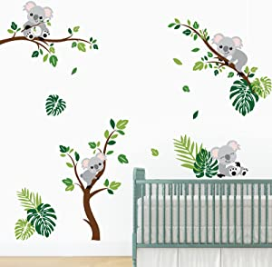 decalmile Koala and Tree Branch Wall Decals Tropical Palm Leaves Wall Stickers Baby Nursery Children Bedroom Wall Decor