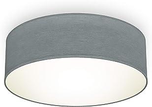 B.K.Licht I plafondlamp I stof plafondlamp I bureaulamp I textielkap I E27 I 1 vlam I Ø30cm I grijs I zonder gloeilamp