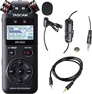 Tascam DR-05X 2-Input / 2-Track Portable Handheld Digital Audio Recorder (Black) with Deluxe accessory bundle