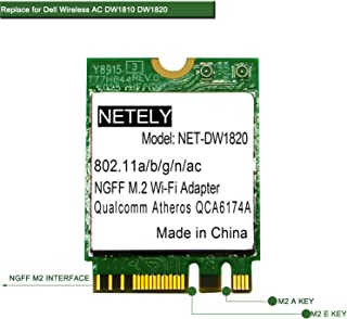 NETELY 802.11 AC 2.4GHz 300Mbps and 5GHz 867Mbps Wireless Module with Bluetooth 4.1-Replace DELL Wireless DW1820/QCNFA344A/DW1810-NGFF M2 A/E Key-Internal Wi-Fi Card-M2 Wi-Fi Adapter(NET-DW1820)