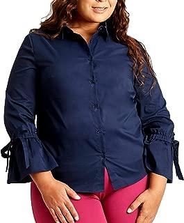 Susan Miller Women's Plus-size Long Sleeve Button Down Shirt Top