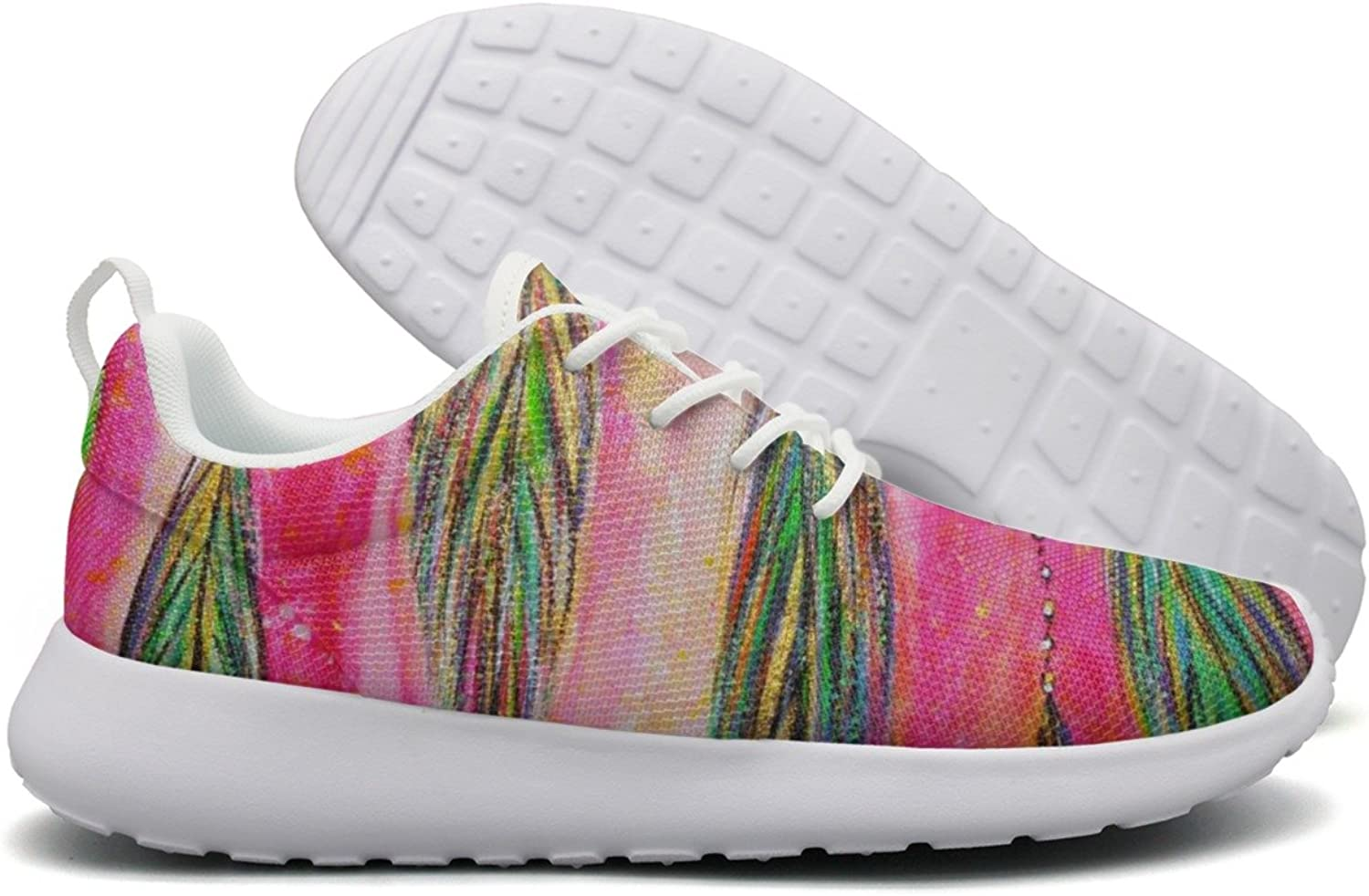 Beautiful Feather Art Womans Net Casual Running shoes Novelty colorful