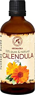 Calendula Oil 3.4oz 100ml - Calendula Officinalis Flower Extract - 100% Pure & Natural - Marigold Oil - Benefits for Skin - Nails - Hair - Face - Body - by Aromatika