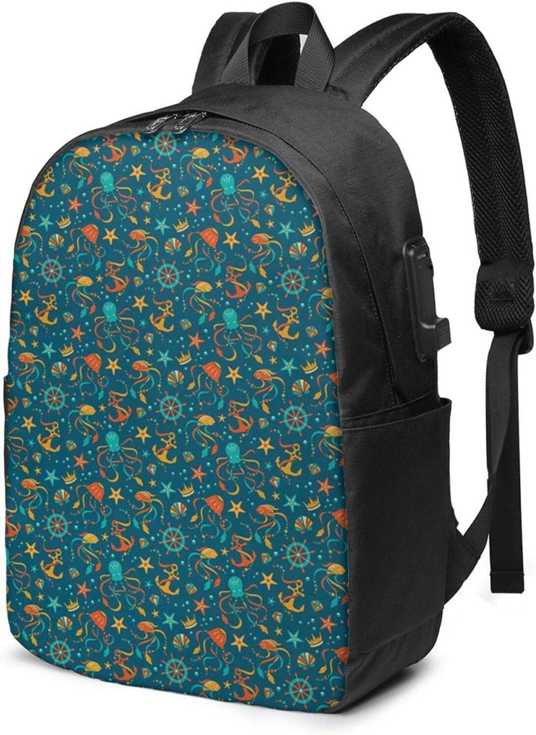 WEQDUJG Mochila Portatil 17 Pulgadas Mochila Hombre Mujer con Puerto USB, Piedras Preciosas de Dibujos Animados de Fauna Mochila para El Laptop para Ordenador del Trabajo Viaje