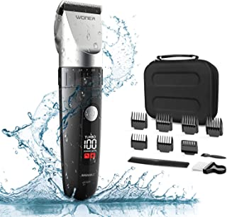 WONER Hair Clippers, Waterproof Hair Clippers for Men, Hair Trimmer Cordless,13-piece Hair Cutting Kit