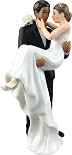 Wedding Collectibles African American Groom Holding Caucasian Bride Interracial Cake Topper Figurine