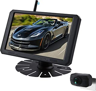 JUNHAOZ 720P 7 Inch Digital Wireless Backup System kit Support 2 Rear View Camera inputs, Support Split/Quard Screen Rear View Camera for RVs,Trailers,5th Wheels,Motorhomes,Truck
