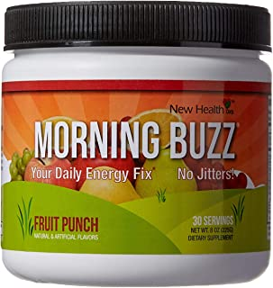Morning Buzz Sports Energy Drink by New Health, Pre Workout, Sports Nutrition Drink, Supports Lasting Energy, Endurance, Mental Clarity, and Metabolism, 8 Ounce Powder Mix, 30 Servings (Fruit Punch)
