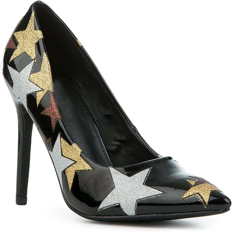 Stars Black Patent Stiletto Women's Pointy Toe High Heels Pump