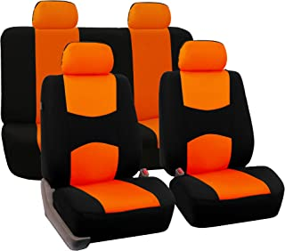 FH Group Universal Fit Full Set Flat Cloth Fabric Car Seat Cover, (Orange/Black) (FH-FB050114, Fit Most Car, Truck, Suv, or Van)