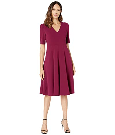 Donna Morgan V-Neck Fit and Flare Crepe Dress (Mulberry) Women