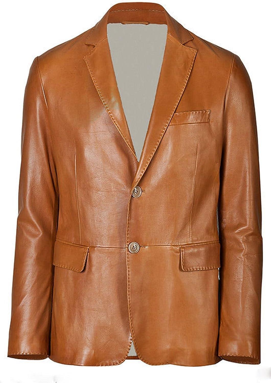 World of Leather Designer Blazer Style Sheep/Lamb Skin Leather Sport Jacket Cognac Tan