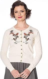 Ivory Floral Retro Rockabilly Vintage 50/'s Rockin Robin Cardigan Banned Apparel