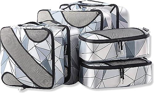 Bagail 6 Set Packing Cubes,3 Various Sizes Travel Luggage Packing Organizers (Geometry Grey)
