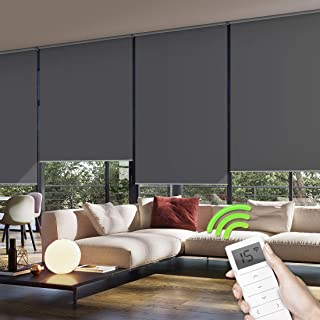 Yoolax Motorized Window Roller Shades Blinds Wireless Remote Control Blackout Fabric Shades for Home and Office Customized (Dark Gray)
