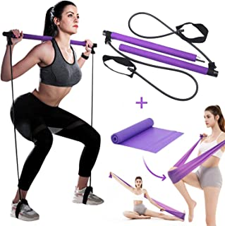 Portable Pilates Bar Kit with Resistance Band and Free Strength Bands Yoga Pilates Stick Muscle Toning Bar Home Gym Workou...