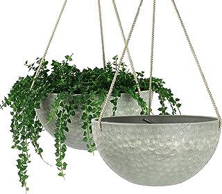 LA Jolie Muse 10 Inch Hanging Planters for Indoor Plants, Outdoor Garden Planter Pots, White, Honeycomb, Set of 2 BJY969 (...