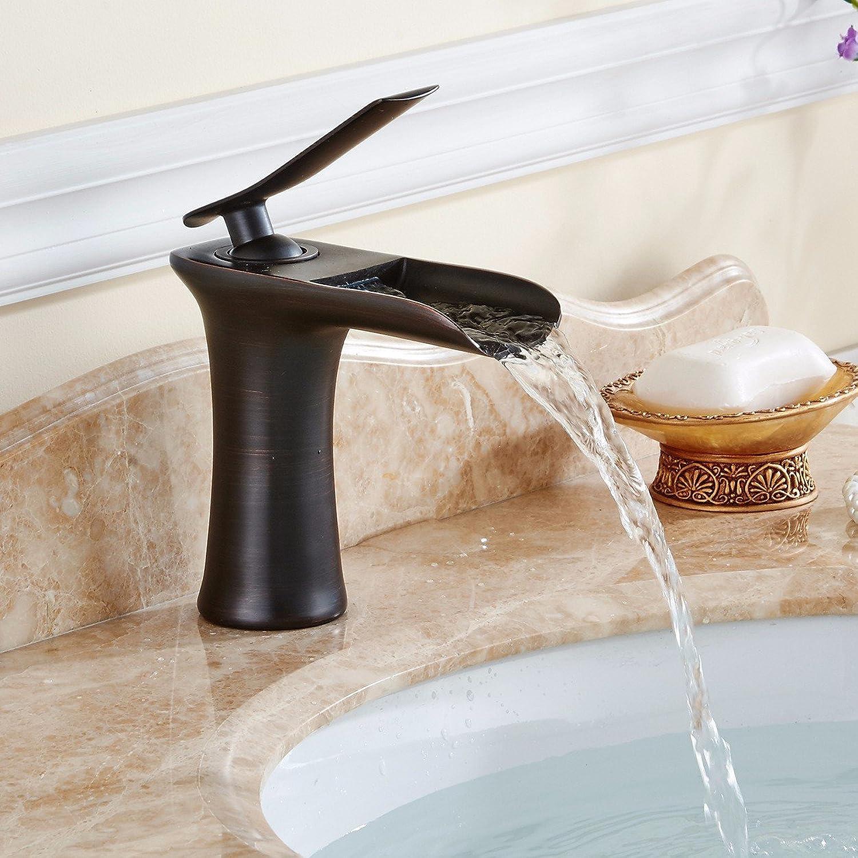 Lvsede Bad Wasserhahn Design Küchenarmatur Niederdruck Kupferner Badezimmerbassinmischer-Wasserfallhahn G1619