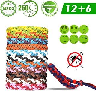 VEGKEY 12 Pack Mosquito Repellent Bracelet Mosquito Bands, 6 Pack Mosquito Repellent Patches, 2019 Natural DEET-Free Adjustable length Insect Repellent Band for Babies Kids Adults