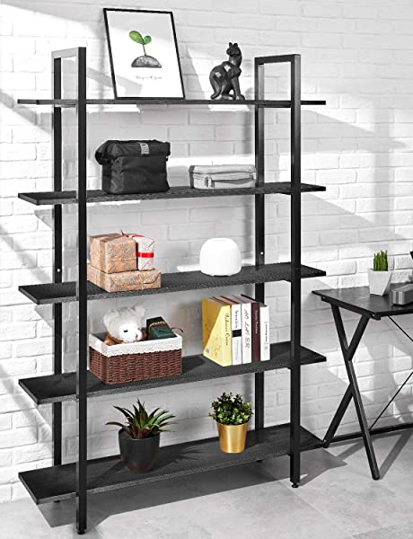 ORAF Bookshelf 5 Tier 47Lx13Wx70H Inches Bookcase Solid 130lbs Load Capacity Industrial Bookshelf Sturdy Bookshelves With Steel Frame Assemble Easily Storage Organizer Home Office Shelf Black
