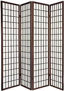 Oriental Furniture 6 ft. Tall Window Pane Shoji Screen - Walnut - 4 Panels