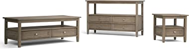 SIMPLIHOME Warm Shaker SOLID WOOD 48 inch Wide Rustic Contemporary Modern Console Sofa Entryway Table in Distressed Grey with