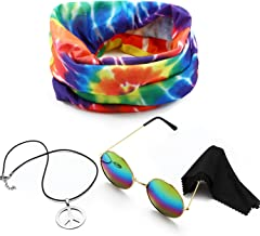 3 Pieces Hippie Costume Set, Include Peace Sign Necklace, Headband, Sunglasses for Theme Parties