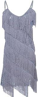 Anna-Kaci Womens Fringe Sequin Strap Backless 1920s...
