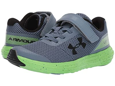 Under Armour Kids UA BPS Surge Running AC (Little Kid) (Ash Gray/Lime Light/Black) Boys Shoes