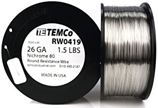 TEMCo Nichrome 80 series wire 26 Gauge 1.5 lb (2074.5ft) Resistance AWG ga