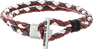 Men's Grey, Red, White Faux Leather Braided Double Strand Bracelet with Stainless Steel Toggle Bar Design