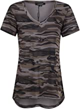 ASMAX HaoDuoYi Womens Camo Camouflage Jersey Longer V Neck Top Tee T Shirt