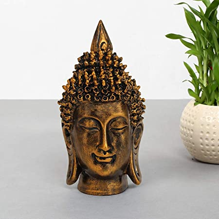 16 Cm X 7 Cm,Golden TIED RIBBONS Lord Buddha Head Statues Sculpture Figurine Showpiece Ornament for Home Garden Gifts -Buddha ornaments for the home