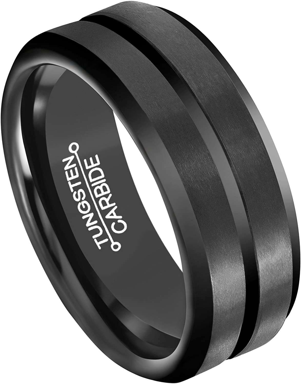 Black Tungsten Wedding Bands Tungsten Carbide Ring for Men 8mm Central Groove