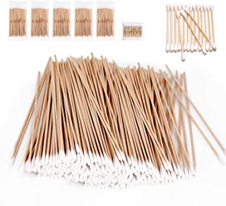 (5 Bag-500 Pcs) - 500 Pcs Long Wooden Cotton Swabs, Cleaning Sterile Single Sticks Ball for Medical Oil Makeup Supplies Gl...
