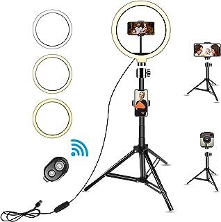 Anillo de luz LED de 10 pulgadas con trípode de 67 pulgadas, soporte para teléfono móvil, selfie con mando a distancia