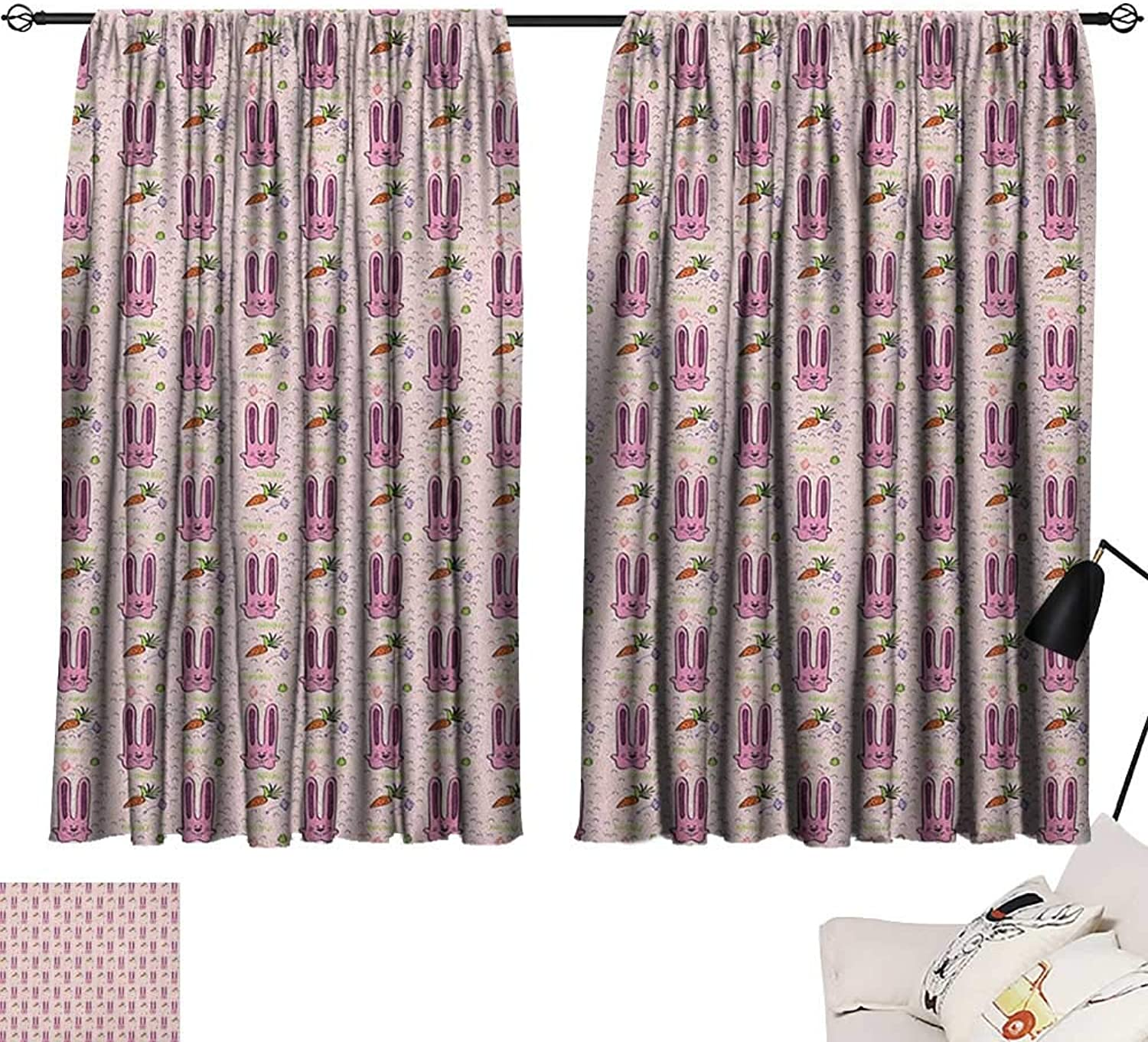 Beihai1Sun Rabbit Modes Darkening Curtains Hand Drawn Style Bunny Characters with Long Ears and Carreds Cartoon Style for Kids Curtain for Living Room Multicolor W63 x L45