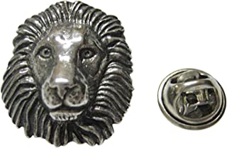 Silver Toned Textured Lion Head Lapel Pin