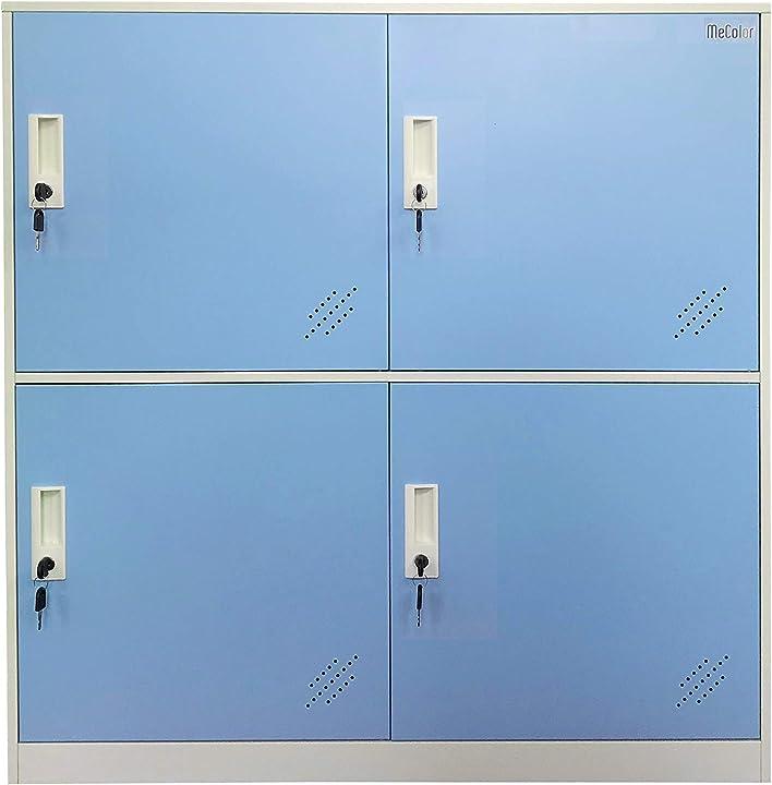 Armadietti piccoli per ufficio, in metallo, con lucchetti - blue - 4d mecolor 4D-BU