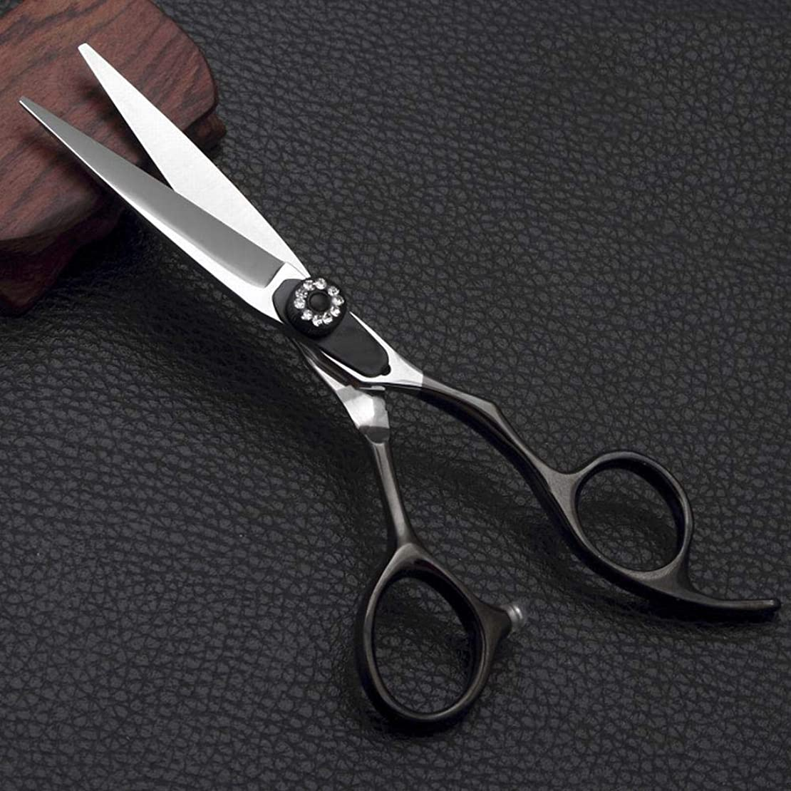 Jiabei 理髪師の特別な理髪はさみ、5.5インチの専門のヘアカットの平らなせん断はさみ (色 : 黒)