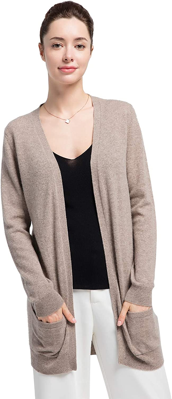 Cas Lady Women 100% Cashmere Open Front Pocket Knit Cardigan