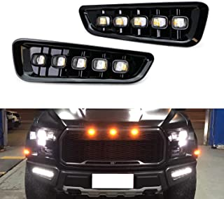 iJDMTOY White/Amber Switchback LED DRL Fog Light Kit For 2017-up Ford Raptor, 5-Lamp Assembly w/Turn Signal Feature