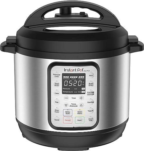 Instant Pot Duo Plus 9-in-1 Electric Pressure Cooker, Slow Cooker, Rice Cooker, Steamer, Sauté, Yogurt Maker, Warmer & Sterilizer,8 Quart Stainless Steel/Black